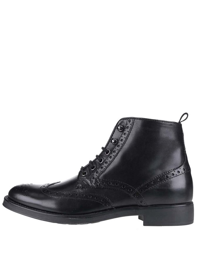 Černé pánské kožené kotníkové boty Geox Blade