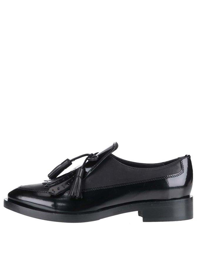 Pantofi negri Geox Brogue din piele cu aspect lucios