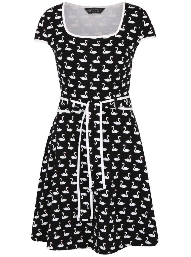 Čierne šaty s potlačou labutí Dorothy Perkins
