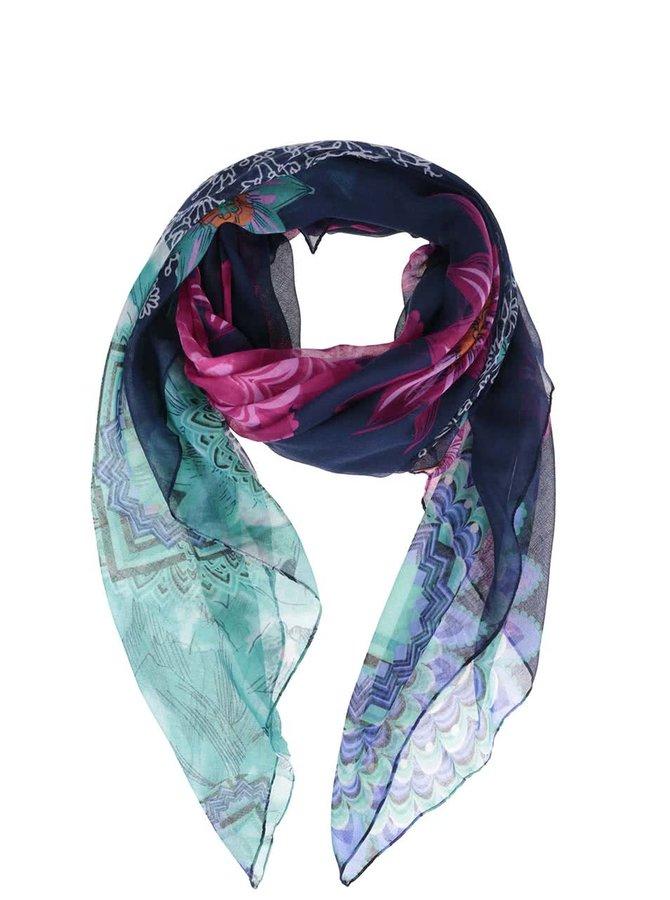 Tmavě modrý šátek s růžovo-zelenými květy Desigual New Dance