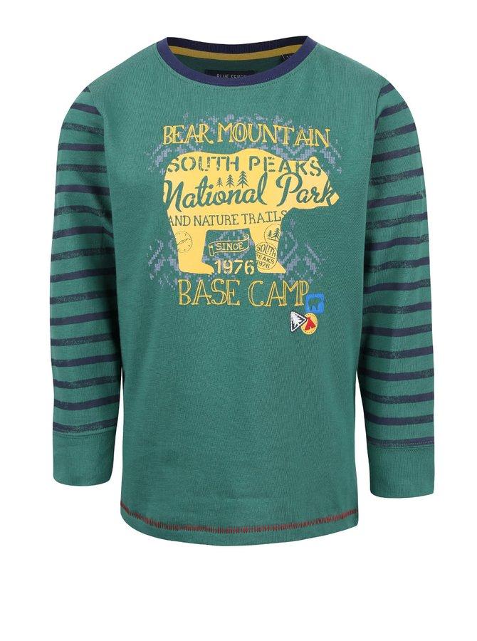 Tmavě zelené klučičí tričko s pruhovanými rukávy Blue Seven