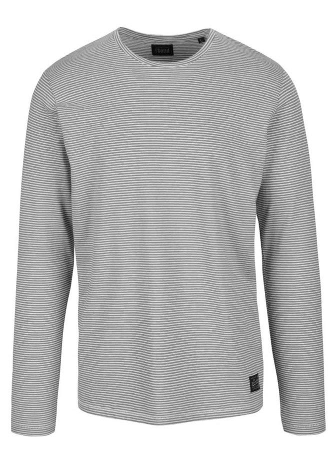 Bílo-šedé pruhované triko s dlouhým rukávem !Solid Donato