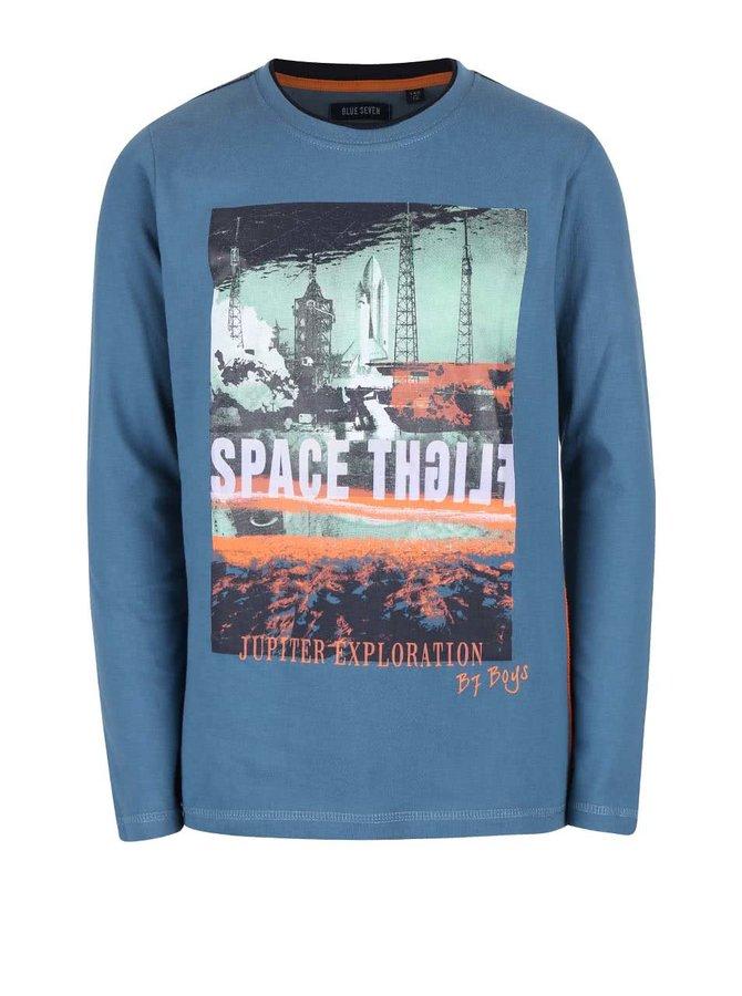 Modré klučičí triko s vesmírným motivem Blue Seven