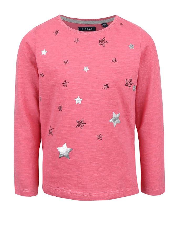 Ružové dievčenské tričko s potlačou hviezd Blue Seven