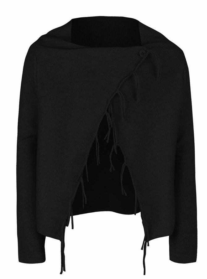 Černý holčičí svetr s asymetrickým zapínáním Blue Seven