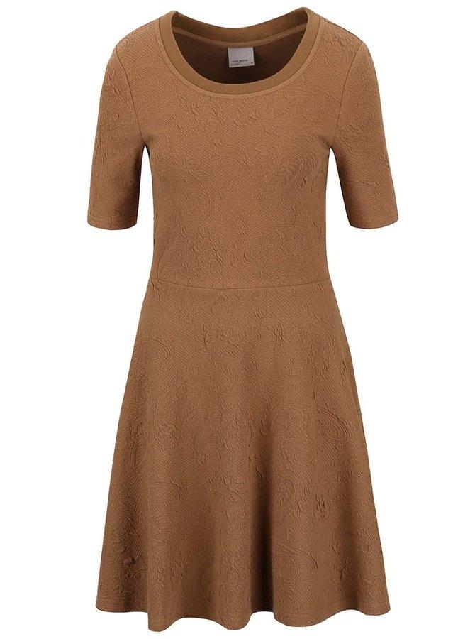 Hnedé šaty so vzorom Vero Moda Marianne