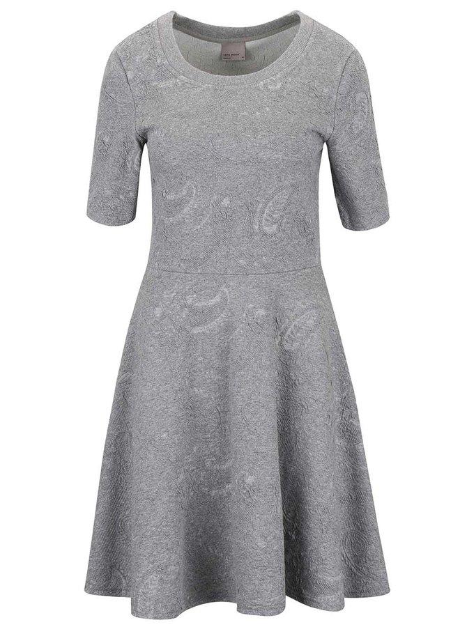 Svetlosivé melírované šaty so vzorom VERO MODA Marianne