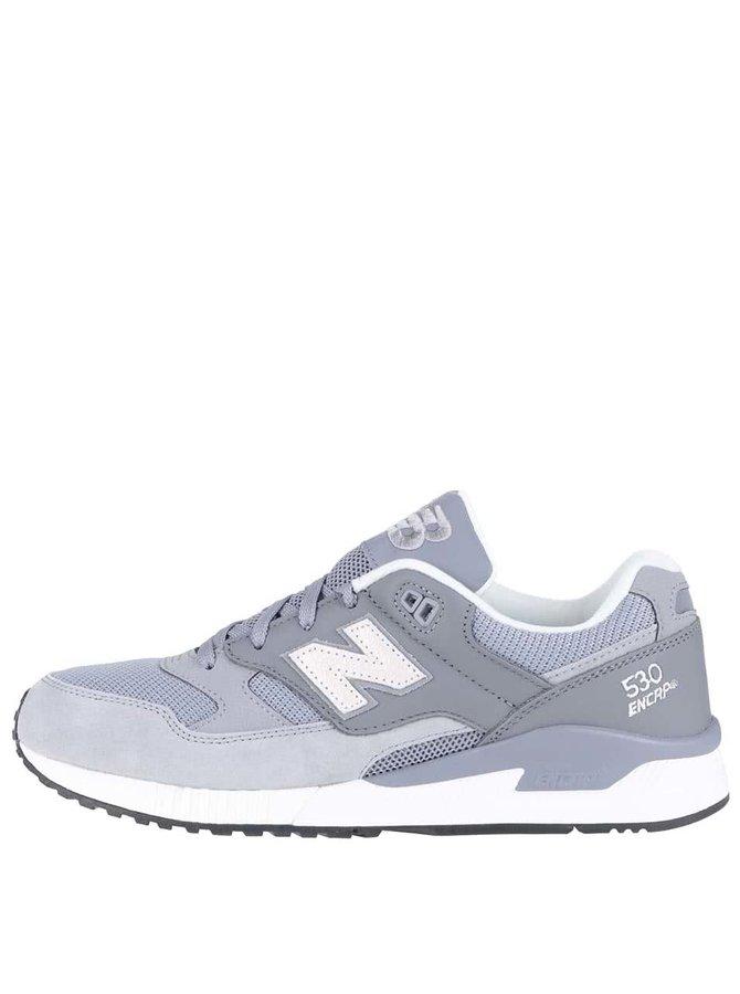 Sivé pánske kožené tenisky New Balance