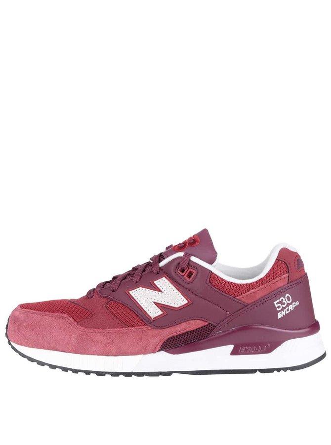 Vínovo-červené pánské kožené tenisky New Balance