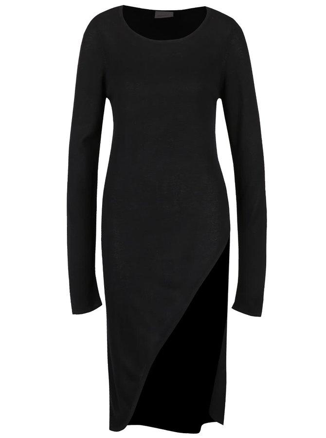 Černé asymetrické svetrové šaty VERO MODA Cathrine