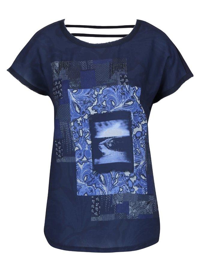 Tmavě modrá halenka s potiskem Vero Moda Rosali