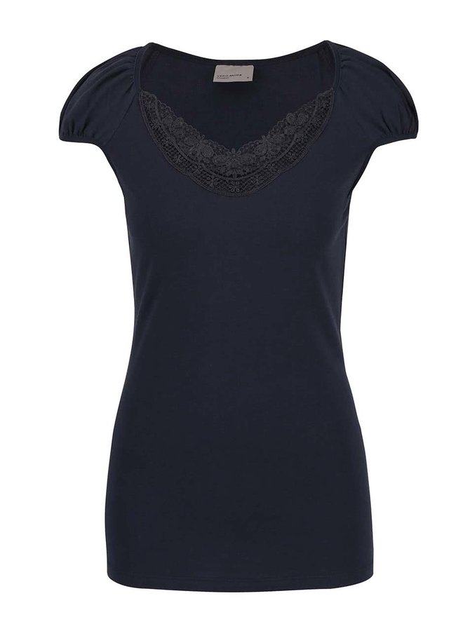 Modré tričko s krajkovaným výstřihem Vero Moda Inge
