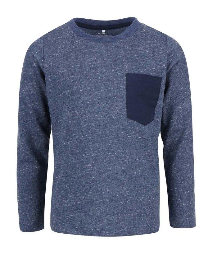 Modré melírované chlapčenské tričko s dlhým rukávom name it Seppe