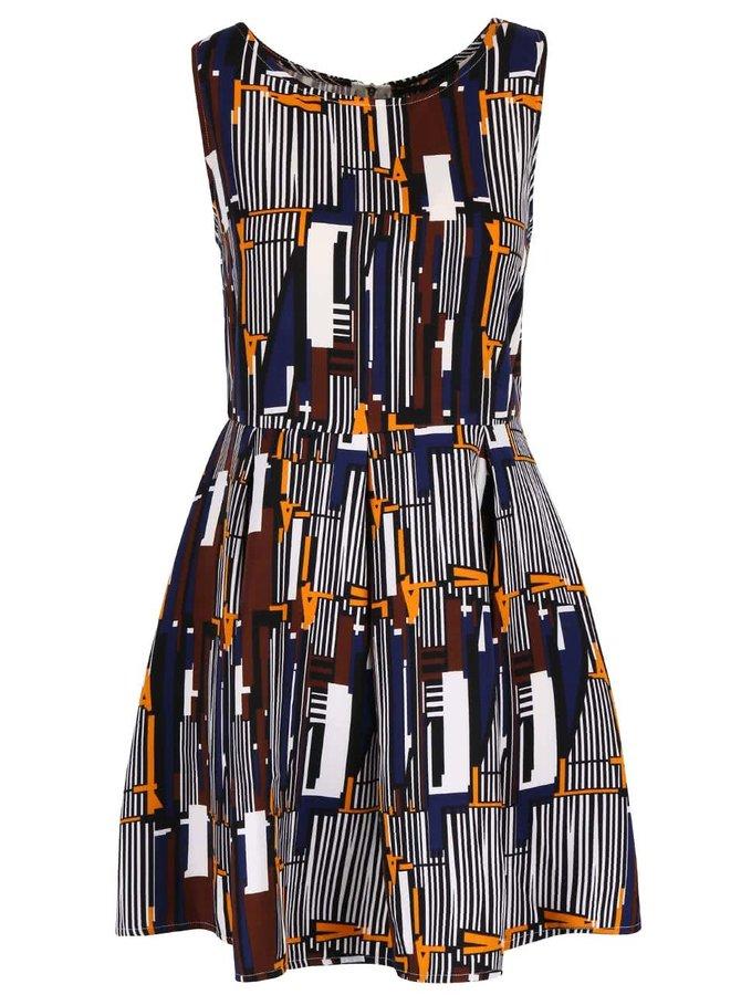 Krémové vzorované šaty se skládanou sukní Mela London