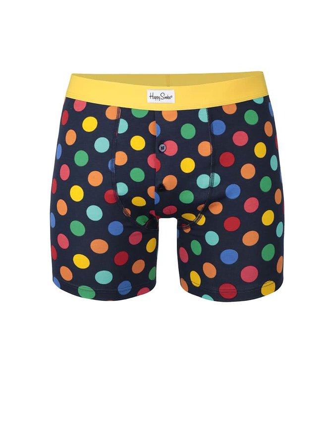Boxeri negri cu buline colorate Big Dot Happy Socks