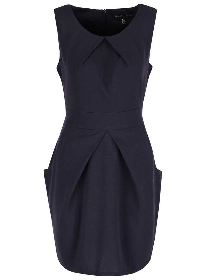 Tmavě modré šaty s kapsami a skládanou sukní Mela London