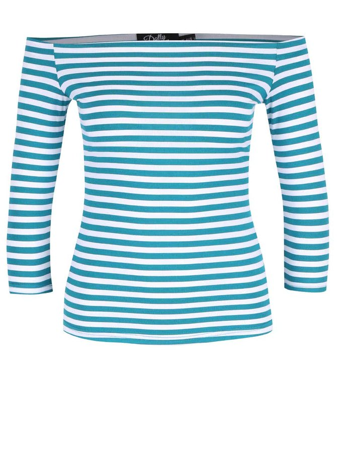 Tyrkysové pruhované tričko s odhalenými rameny Dolly & Dotty Gloria