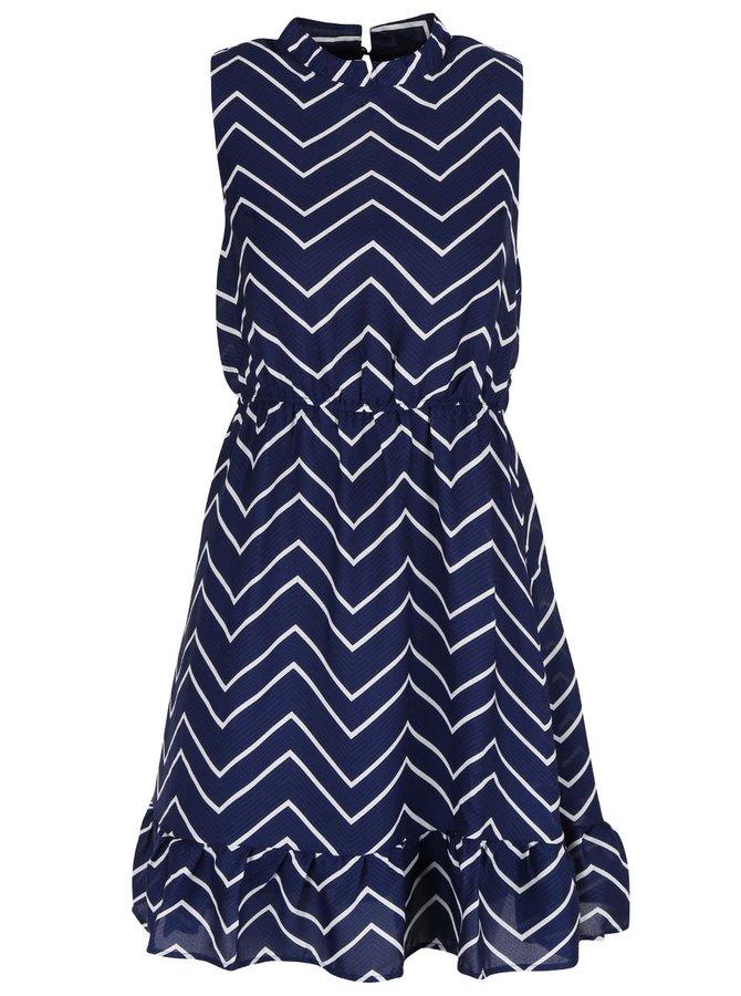 Bílo-modré vzorované šaty se stojáčkem a volánem Mela London