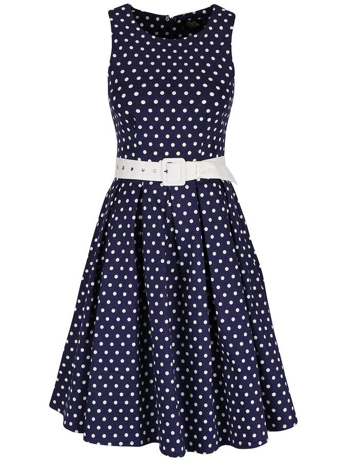 Tmavě modré šaty s puntíky Dolly & Dotty Lola