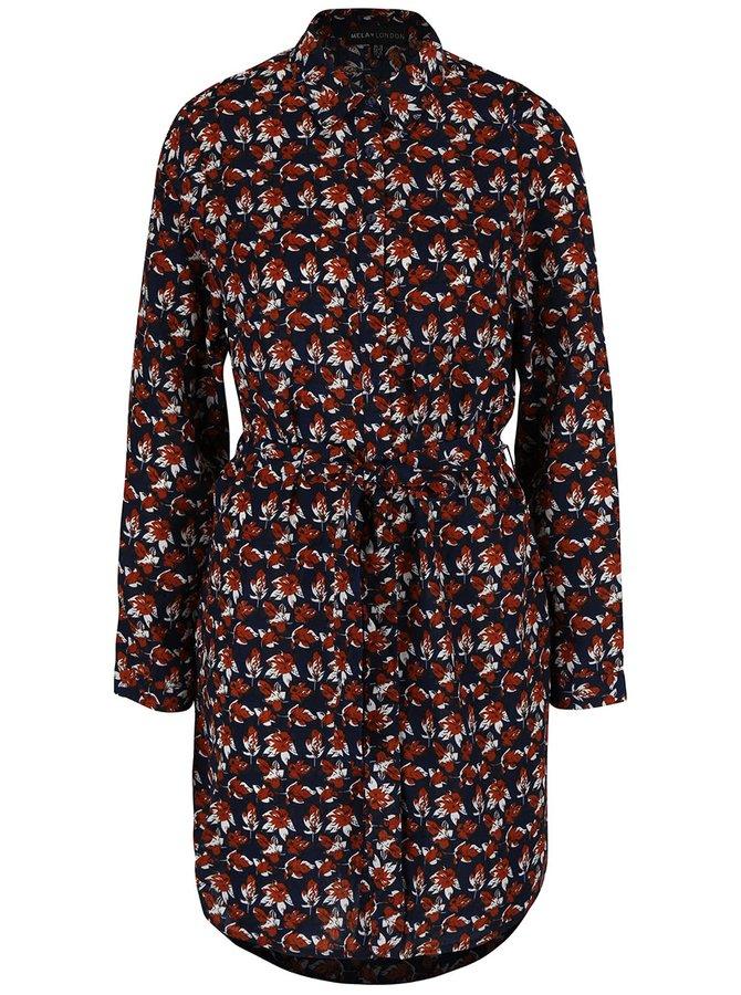 Tmavomodré košeľové šaty s potlačou listov Mela London