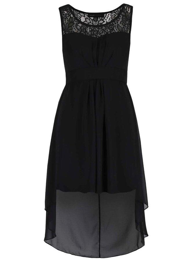 Černé šaty s prodlouženým zadním dílem Mela London