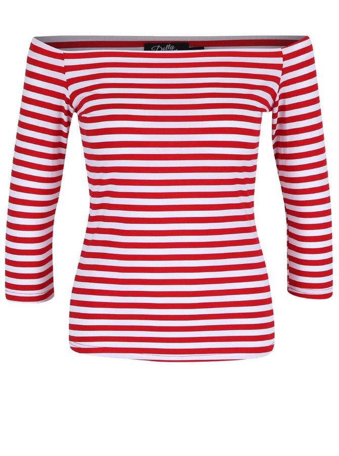 Červené pruhované tričko s odhalenými ramenami Dolly & Dotty Gloria