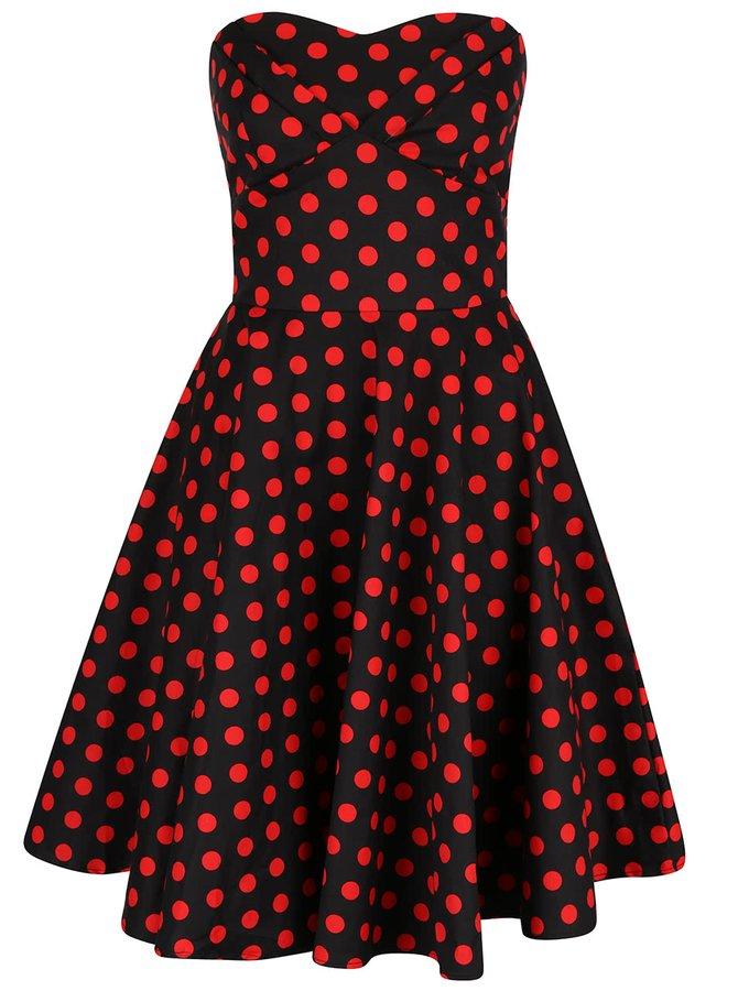 Čierne bodkované šaty bez ramienok Dolly & Dotty Melissa