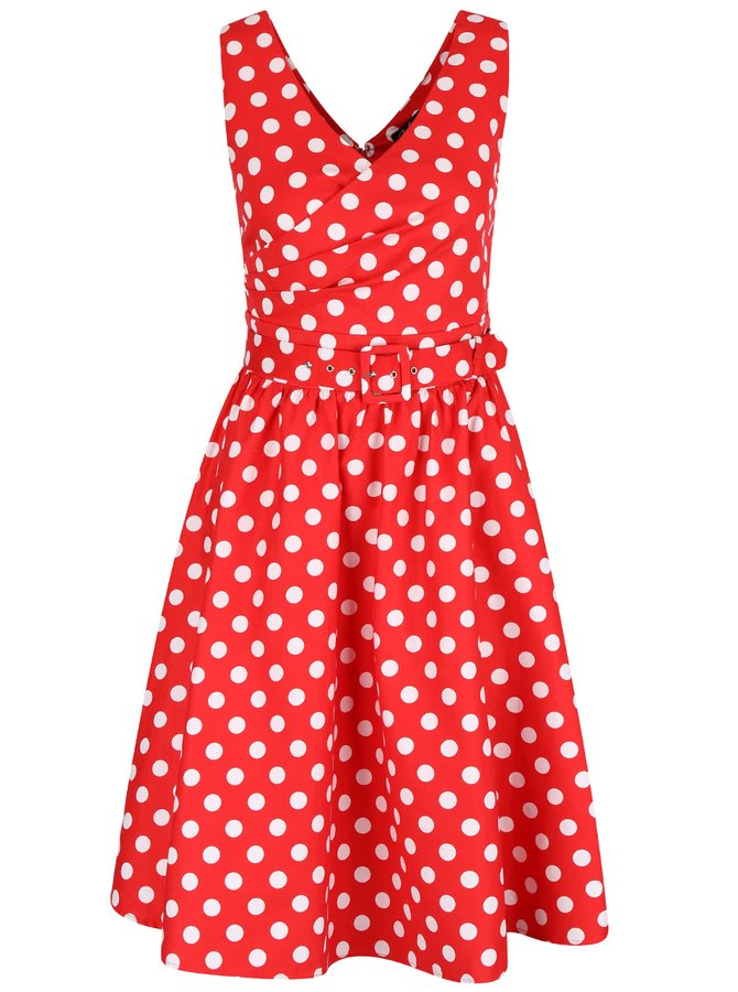 Červené puntíkované šaty s véčkovým výstřihem Dolly & Dotty May