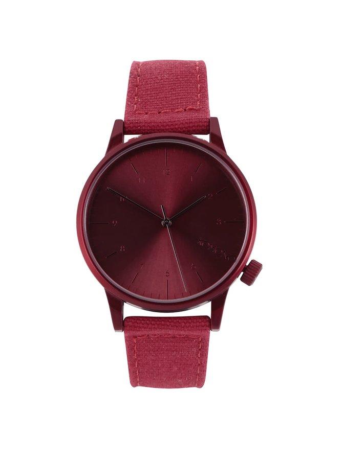 Červené unisex hodinky s textilným remienkom Komono Winston Brogue