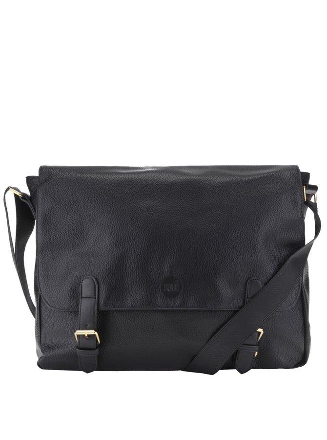 Čierna pánska koženková taška cez rameno Mi-Pac Messenger