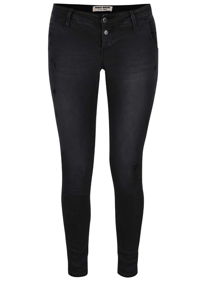 Černé vyšisované skinny džíny s roztrhaným efektem TALLY WEiJL
