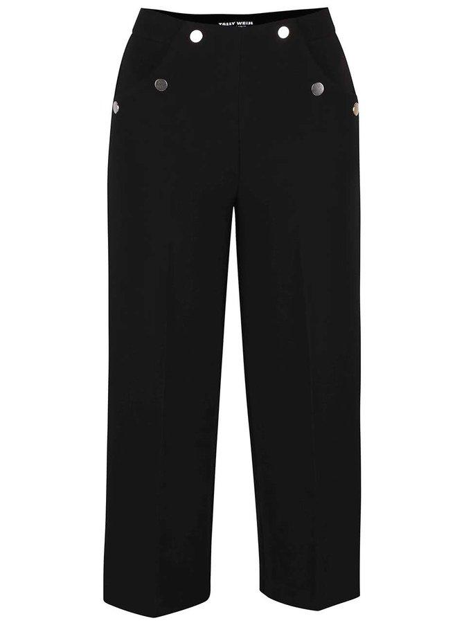 Čierne culottes so striebornými cvočkami TALLY WEiJL