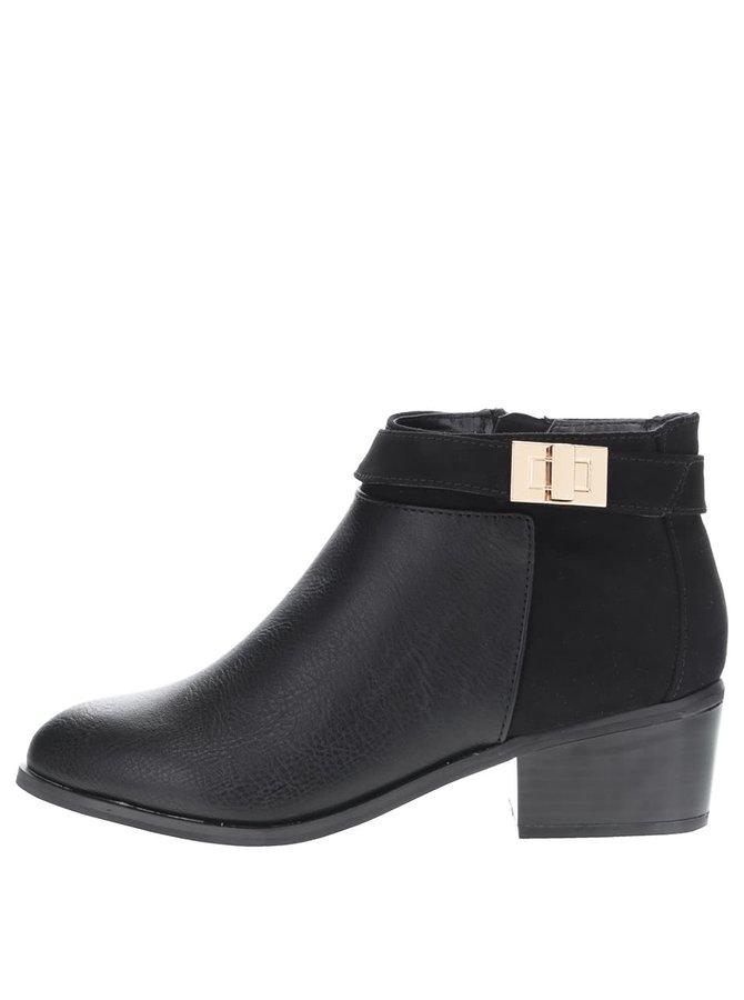 Čierne členkové topánka so sponou Miss Selfridge Alessia