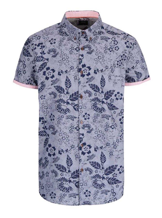 Modrá košeľa s kvetinovanou potlačou Burton Menswear London