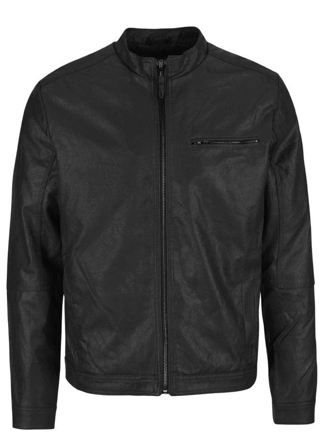 Jachetă neagră Blend din piele sintetică