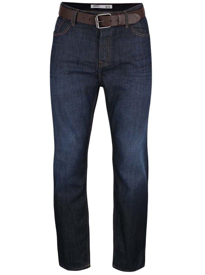 Tmavě modré rovné džíny s hnědým páskem Burton Menswear London