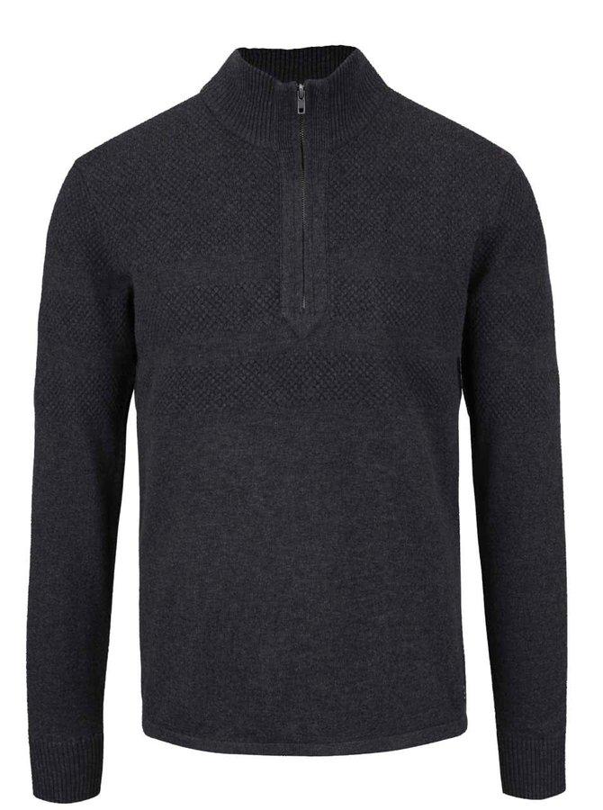 Tmavě šedý svetr se zipem Blend