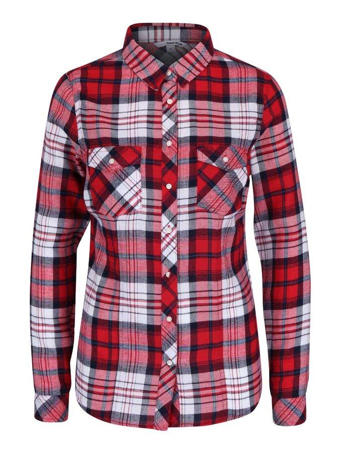 Bielo-červená károvaná košeľa s vreckami TALLY WEiJL