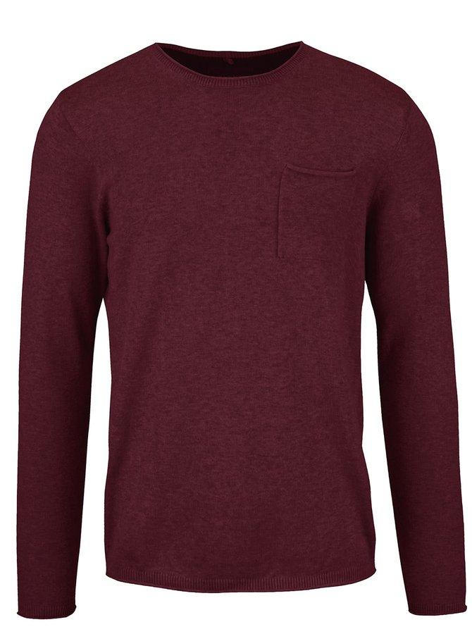 Vínový sveter s vreckom Blend