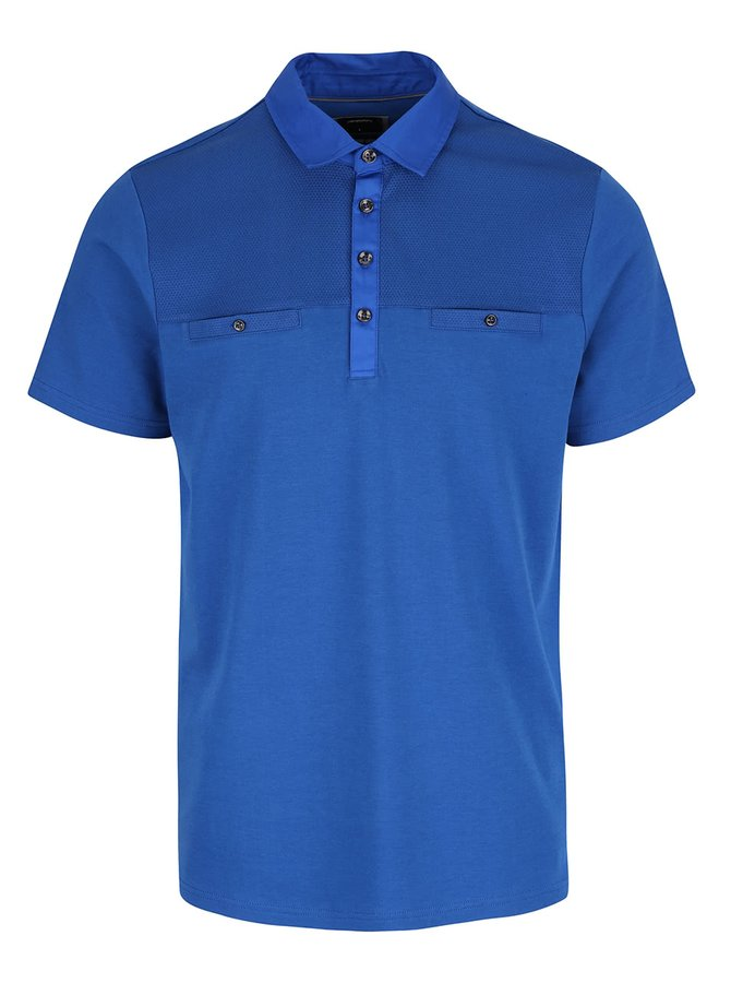 Modré polo triko s falešnými kapsami Burton Menswear London