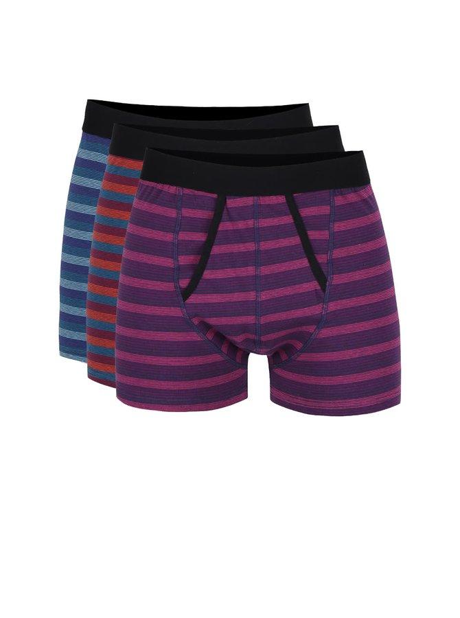 Sada tří boxerek v černé barvě s barevnými pruhy Burton Menswear London