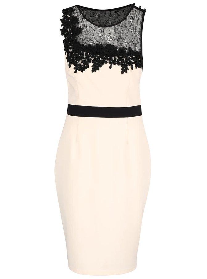 Krémové šaty s černým krajkovaným dekoltem Little Mistress
