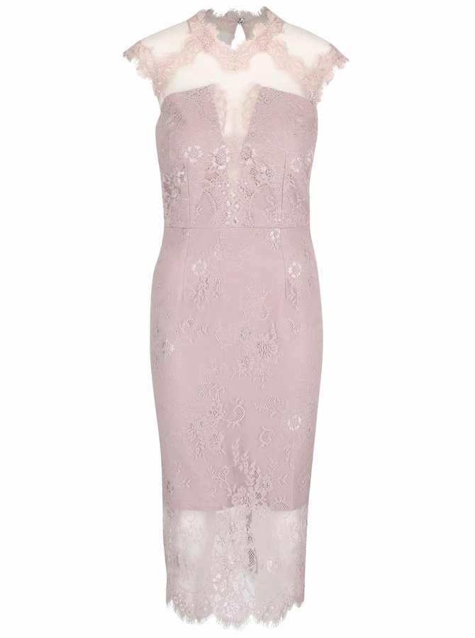 Světle fialové krajkové šaty s průsvitnými rameny a výstřihem Little Mistress