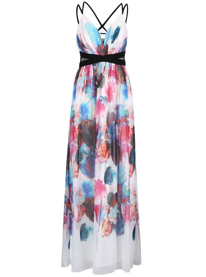 Krémové dlouhé šaty s potiskem barevných květů Little Mistress