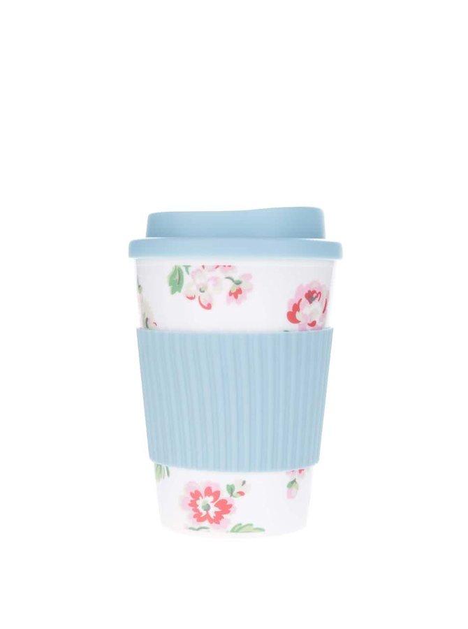 Bílo-modrý cestovní hrnek s květovaným motivem Cath Kidston