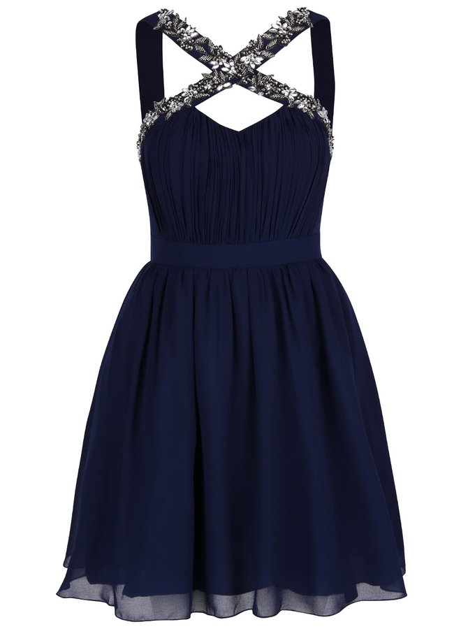 Tmavomodré šaty s korálkovým detailom na ramienkach Little Mistress