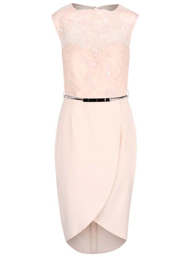 Svetloružové šaty s čipkovaným topom a opaskom Little Mistress