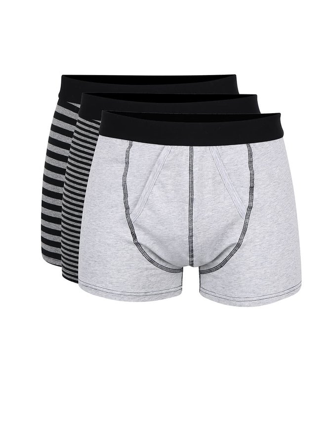 Súprava troch sivých boxerok s čiernymi pruhmi Burton Menswear London