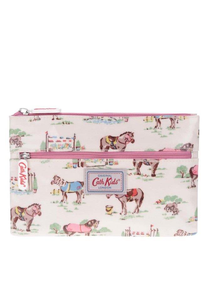 Ružovo-krémový dievčenský peračník s koňmi Cath Kidston