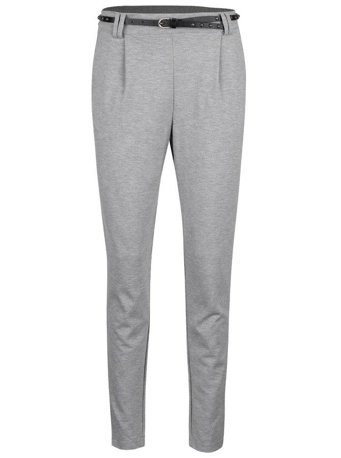 Světle šedé žíhané teplákové kalhoty s páskem VERO MODA Kelly